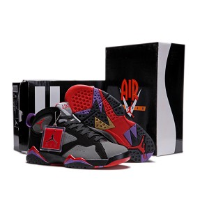 Air Jordan VII noir rouge franc noir de charbon de bois Club Purple