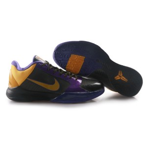 chaussure de basket kobe 5 V LA Lakers Away noir violet jaune