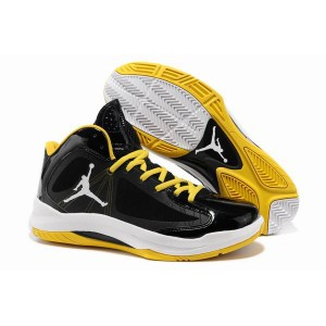 Chaussures de basket-ball air jordan aero flight Noir Blanc Jaune