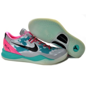 chaussures kobe 8 South Beach gris vert rose