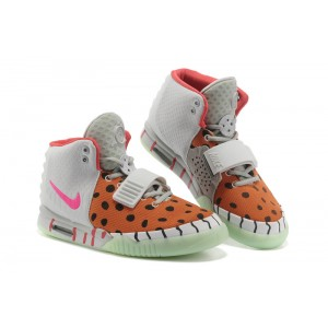 femmes nike air yeezy 2 noir dot orange gris