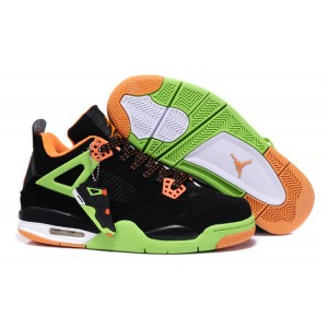 baskette jordan 4 noir vert orange