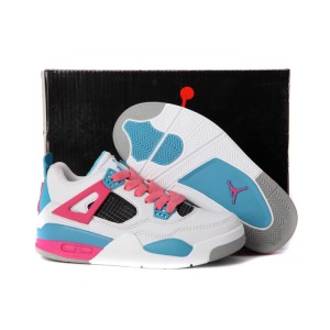 air jordan 4 retro enfants blanc rose bleu