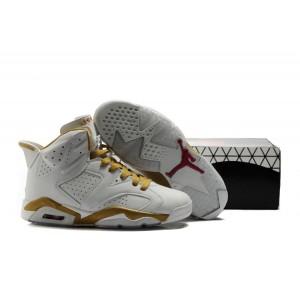prix compétitif 9c37b e974b vente de Basket Jordan 6 blanc or en cuir