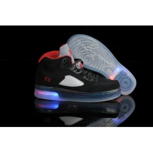 jordan fusion 5 light up noir rouge en daim